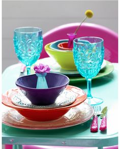 colourful plate and glass