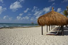 How relaxing does this look? Palapas on the beach at Grand Luxxe Riviera Maya Travel Destinations Beach, Romantic Destinations, Romantic Vacations, Romantic Places, Mexico Vacation, Vacation Spots, Vacation Club, Riviera Maya, Riveria Maya Mexico
