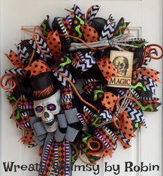 Halloween Skeleton Deco Mesh Wreath, Halloween Decor, Skeleton Wreath, Font Door…