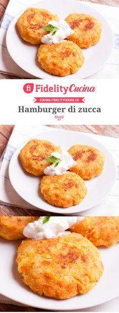 Hamburger di zucca Veg Recipes, Light Recipes, Italian Recipes, Vegetarian Recipes, Cooking Recipes, Healthy Recipes, I Love Food, Good Food, Yummy Food