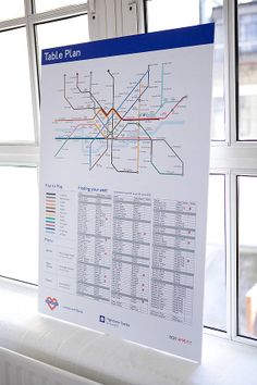 Tube Map Table Plan - how cool is this, esp with the name list, plus whether vegetarian etc at the bottom!