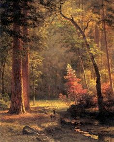 Woodland forest in autumn fall & young deer doe painting art real canvas print Landscape Art, Landscape Paintings, Albert Bierstadt Paintings, Carl Spitzweg, Hudson River School, Woodland Forest, Watercolor Trees, Belle Photo, American Art
