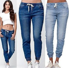 Buy Women Fashion Blue Sexy Skinny Pencil Jeans Female Casual Denim Pants at Wish - Shopping Made Fun Grey Ripped Jeans, Skinny Jeans, High Jeans, High Waist Jeans, Pants For Women, Clothes For Women, Ladies Pants, Jeans Women, Denim Joggers