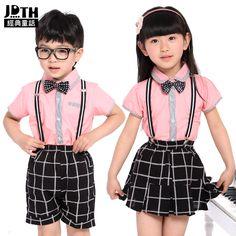 Los niños con estilos de ropa de Inglaterra a niños y niñas niño de Kinder correa faldas y ropa trajes ropa uniforme de escuela de verano