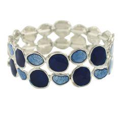 Sylvan Navy Blue Enamel Silver Tone Stretch Bracelet