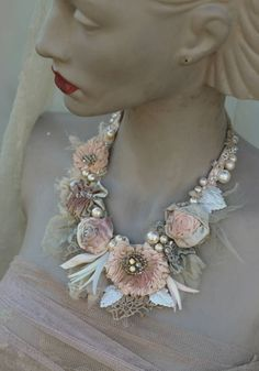Porcelain roses shabby chic Spring necklace  statement