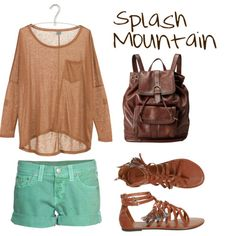 Inspired by Disneyland ride Splash Mountain. Cute Spring Outfits, Girly Outfits, Cool Outfits, Disney World Outfits, Disney Fashion, Stylish Street Style, Disneyland Rides, Peach Shorts, Estilo Disney