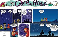 Over the Hedgeby T Lewis and Michael Fry Sunday, September 2014 Funny Animal Comics, Funny Animals, Michael Fried, Michael Lewis, September 28, Pink Flamingos, Comic Strips, History, Sunday