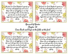 Howard W Hunter lesson 12 Come Back and Feast at the Table of the Lord- Relief Society handout- Free Printable Relief Society Handouts, Lds, Comebacks, Free Printables, Summer, Summer Time, Free Printable, Mormons