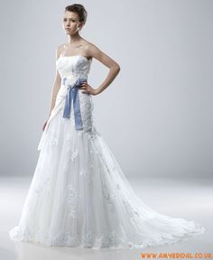 Wedding Gowns With Navy Sash