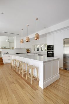 Classic shaker style kitchen for a Federation home in Killara Open Plan Kitchen Living Room, Kitchen Room Design, Modern Kitchen Design, Kitchen Layout, Home Decor Kitchen, Interior Design Kitchen, Kitchen Ideas, Shaker Style Kitchens, Home Kitchens