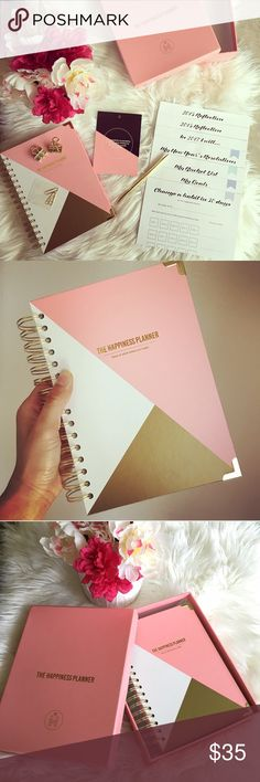 """PINK The happiness planner yearly Jan-Dec 2017 Item: The Happiness Planner for 2017 Color: pink, white, gold Size: approx 8 1/2"""" tall and 6"""" wide and 1 1/2"""" thick Condition: BRAND NEW WITH BOX. Such a cute planner. It's still early in the year. It's not too late to get a planner and get organized. Comes with pen. 3 paper clips. 2 binder clips. Motivational quotes on each page. Also comes with extra motivational sheets. See pics. No pages missing. No writing anywhere on it.  No trades…"""