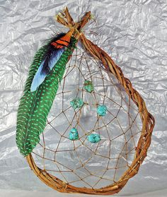 Authentic Native American dream catcher. Traditional wall hanging décor is stunning piece of Native American culture. This dream catcher is made from the bittersweet vine that grows freely in North America. The bittersweet vine is naturally weaved together similar to a wreath, it was found and cut once and tied into the hoop you see now! The dream catcher is appr. 10 inches in length and 7 inches wide with a mixture of pheasant wing, blue dyed duck, golden pheasant wings and remarkable…