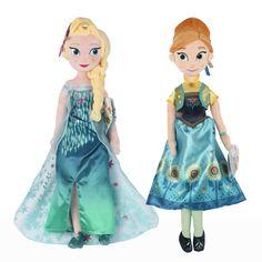 "Disney Princess Frozen Fever Elsa Anna Plush Doll Set 20"" Two Dolls Per Package"