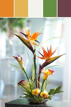 Bird of Paradise & Calla Lily Silk Centerpiece Designed By Silkflowers.com via Stylyze