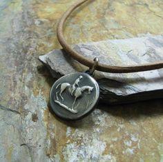 Handmade Horse Pendant, Fine Silver, Vintage Style Equestrian Scene, Moonlight Ride.