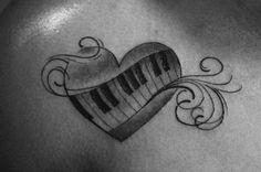Piano heart tattoo