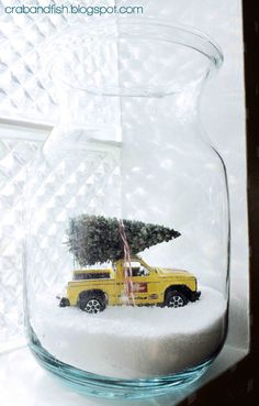 Christmas Car in a Jar #DIY | crab+fish. Reminds me of Harv and his yellow truck obsession.