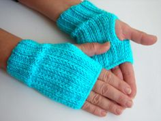 Blue Fingerless Mittens Gloves for Women by bysweetmom on Etsy, $24.00
