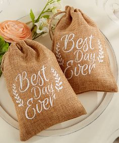 Look what I found on #zulily! 'Best Day Ever' Burlap Favor Bag - Set of 12 by Kate Aspen #zulilyfinds