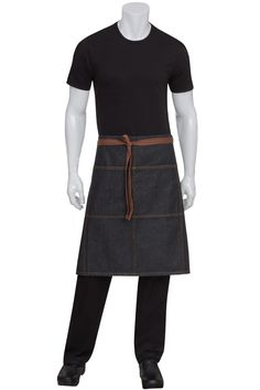 Memphis Black Denim Bistro Apron, accented with brown topstitching and ties, also available in Indigo Blue.  Get it @ ChefsEmporium.net (http://www.chefsemporium.net/adjustable-black-bib-apron.html)
