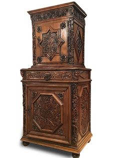 French late Renaissance/early Baroque period (Louis XIII) petite deux corps Baroque, Renaissance, Antique Furniture, Grape Vines, Period, Carving, French, Antiques, French People