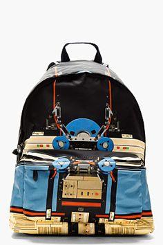 Givenchy Blue & Black Canvas Robot Print Backpack for men   SSENSE