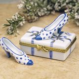 Limoges box  blue and white shoe box with loose shoe