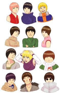 Naruto characters with rock lee's hair style Steampunkskull's art///this is so disturbing