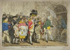 """""""Election-troops, bringing in their accounts, to the pay-table""""; showing the 'troops' headed by Major Topham, approaching the barrier gate of the Treasury behind which stands William Pitt, holding a large key; Major Topham shows Pitt a paper on which are inscribed the deeds for which they seek payment, but Pitt disowns them and directs them to Lord Hood (1788)"""