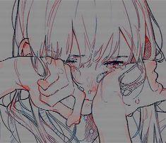 Sad anime aesthetic - don' cry Art Print by lyssanii - X-Small Anime Girl Crying, Sad Anime Girl, Kawaii Anime Girl, Manga Girl, Anime Art Girl, Crying Aesthetic, Aesthetic Art, Aesthetic Anime, Ft Tumblr