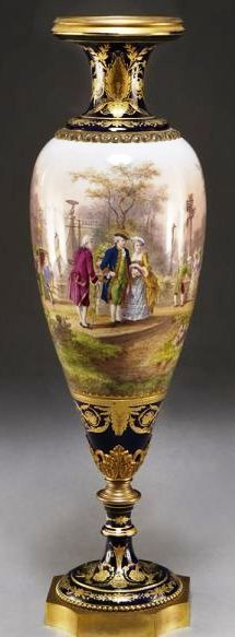 Porcelain Sevres Style Urn, the body painted with aristocratic figures in a landscape, with overall gilt painted accent and gilt bronze mounts c. 1875-1900