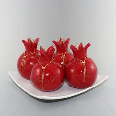 Rosh hashanah gift, table decoration, red pomegranates home decor, prosperity symbol, 4 Polymer clay Pomegranates in red and shiny gold