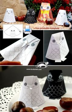 Paper owl baby for colouring