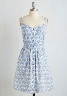 Can't Bold It In Dress in Delft. Youre in love with this blue and white dress from Mata Traders and you want everyone to know! #modcloth