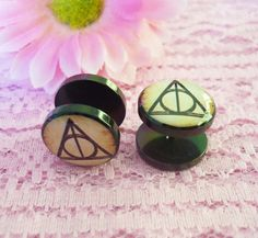 Deathly Hallows Harry Potter earring 14 mm. by CuteJewelryStore