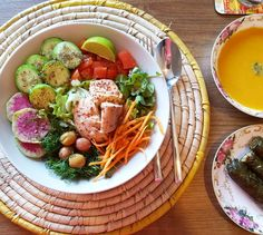 "Look at this yummy lunch  I love having time to cook and prepare food. Today's lunch is a big #salad with some #wildsalmon (brought it from Canada. Only 1 can left though). #Sweetpotato #coconutmilk soup with a tsp of pesto - heaven!! And some #collardgreens #sarma Everything is #lowfodmap  Today is a slow day. A ""ME"" day and it feels wonderful. I woke up so happy and grateful. No cramps pain or discomfort. This #lowfodmapdiet is saving my life. I wish I heard about it years ago. (Thank you…"