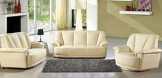 Contemporary Beige Vinyl Leather 3 Pieces Sofa Living Room Set is Sold as a whole set, includes 1 Sofa, 1 Love Seat and 1 Chair. Some assembly may be required. Also Available in Camel/Chocolate.