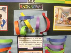 3-D Rainbow: This activity helped some CCLC students practice their small motor skills while learning about the colors of the rainbow. Ages: Older toddlers, preschool, PRE-K.