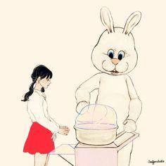 """솜사탕을 파는 토끼. Rabbit the cotton candy seller.The rabbit who was selling the cotton candy said,  솜사탕을 파는 토끼가 말했다.""""Try eating this cotton candy! """"이 솜사탕을 입안에 넣어봐!Then you'll be able to reach the faraway universe in an instant!"""" 그 순간, 넌 저멀리 떨어진 우주에 닿을 수 있을거야!""""While I was hesitating, the rabbit told me again, 머뭇거리는 나에게  토끼는 다시 말했다.""""Hey, don't you wanna wake up from this dream?"""" """"넌  이 꿈에서  깨어나고 싶지 않은거야?""""Before I was to say something, the rabbit put the ..."""