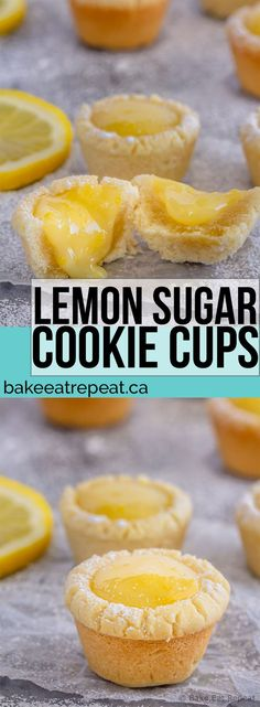 These lemon sugar cookie cups are like mini lemon pies with a sugar cookie crust - easy to make, they're the perfect little sweet treat! #sugarcookie #cookies #cookiecups #lemon #lemoncurd #dessert