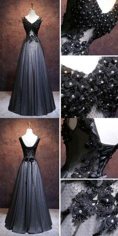 CHIC A-LINE V-NECK FLOOR LENGTH TULLE BLACK APPLIQUE LONG PROM DRESS EVENING DRESS AM336