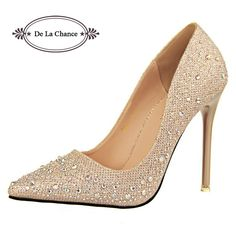 60d6079e2c21 2016 New Fashion Sexy Women Silver Rhinestone Wedding Shoes Platform Pumps  Red Bottom High Heels Crystal