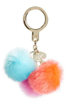 kate spade new york 'triple pom pom' faux fur bag charm available at #Nordstrom