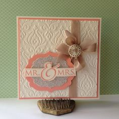 By Sarah Boyle - Bluebird Stampin' https://www.facebook.com/pages/Bluebird-Stampin/113911055305635?fref=ts #stampinup #weddingcard #labelframelits