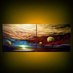 HUGE original tree landscape painting large painting tree painting metallic gold cloud painting 56 x 22 inch Mattsart