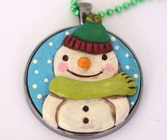Original Snowman Folk Art Necklace with by cortneyrectorFOLKART, $19.00