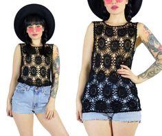 vintage 90s back sheer top crochet shirt macrame by AsIfStore
