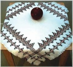 Scandinavian Table Cloth on white Monks cloth. (Swedish/huck weaving) - I found this while browsing JuliesXstitch.com