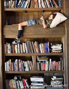Beautiful and cozy reading spaces for kids. Find ideas for your kid's reading nook here. Staircase Bookshelf, Library Bookshelves, Staircase Design, Bookcases, Reading Nook Kids, Reading Loft, Reading Areas, Reading Corners, Diy Rangement